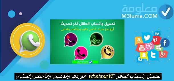 تحميل واتساب العاقل whatsapp الوردي والأخضر والذهبي والعنابي v8.50